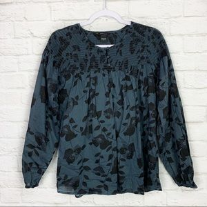 Moda International Smocked Floral Teal Cotton Top
